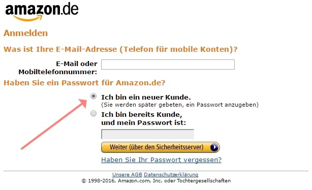 Screenshot Amazon Partnernet Anmeldung