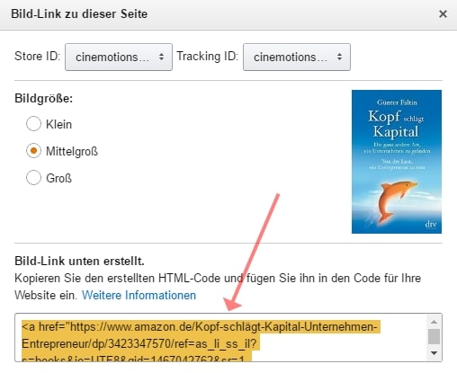 Screenshot Amazon PartnerNet Link im Bild