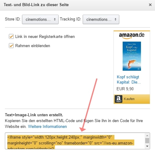 Screenshot Amazon PartnerNet Text+Bild Link erstellen