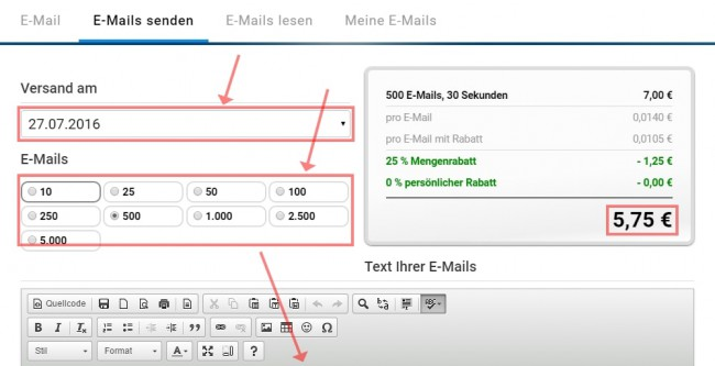 Screenshot Godl.de, Email Werbung