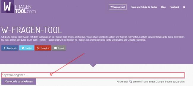 W-Fragen Tool Screenshot