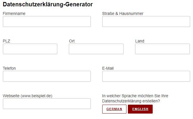 Datenschutzerklärung Generator