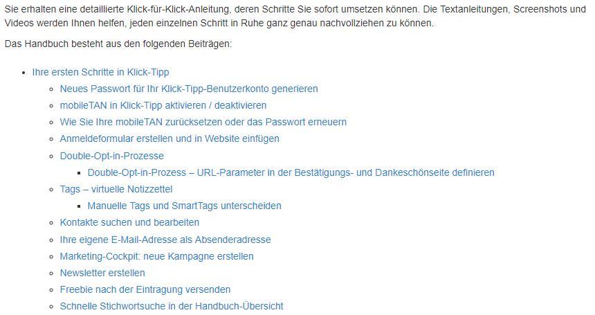 Klick-Tipp Handbuch